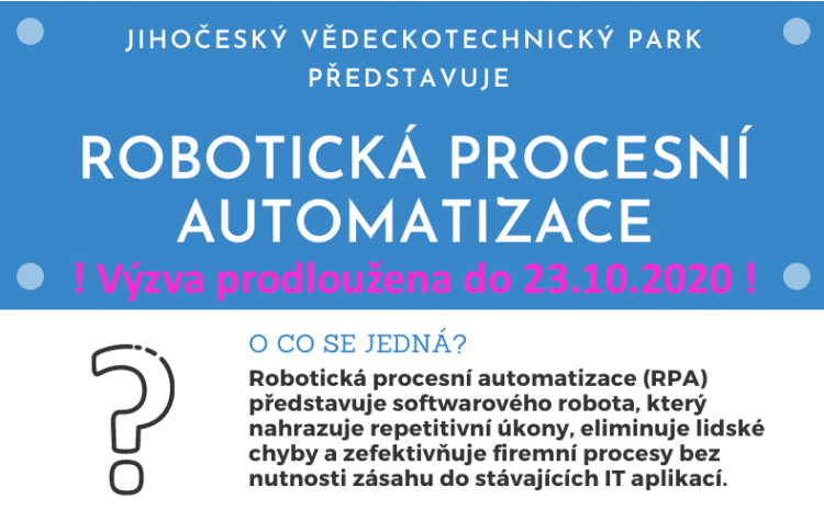 ! Prodloužení výzvy k překládání žádostí do programu Robotická Procesní Automatizace (RPA)